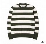 edwin standard bar stripes sweater lambs-wool-blend-uniform-green-natural