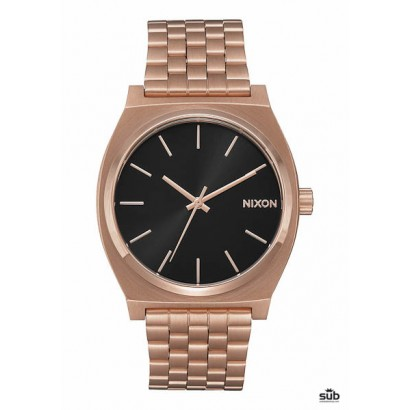 nixon time teller all rose gold black sunray